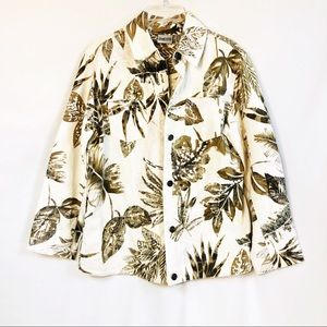 Chicos Leaf Print Denim Jacket